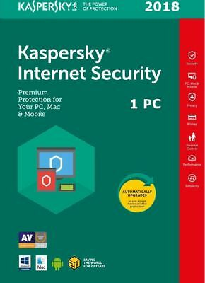 Kaspersky Internet Security 2018 - 1 PC/MD/1 Anno/Nuova/Download