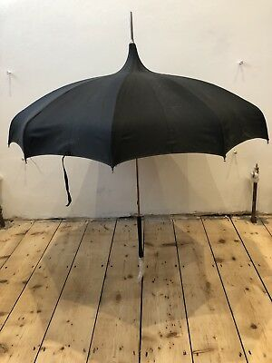 Vintage W Jones & Co Black Pagoda Parasol With Lucite Handle