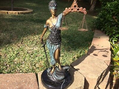 Huge antique solid bronze figure blind lady scales of justice statue 45.5 cm