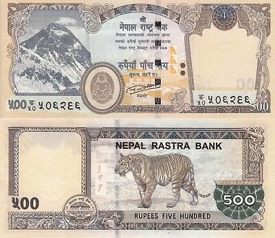 NEPAL BANKNOTE : Latest Issue of 500 Rupees Banknote, Mt. EVEREST, Tiger, UNC.