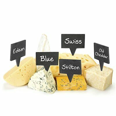 Cheese Markers Set - 4 Labels Natural Slate & 2 Chalk Markers, Kitchen, Party