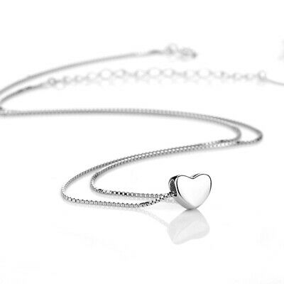Solid 925 Sterling Silver Shiny 3D Love Heart Pendant Charm Chain Necklace
