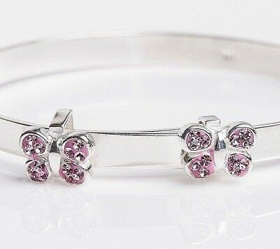 925 Solid Silver Baby Christening Bangle Pink CZ Butterfly Expandable Bracelet