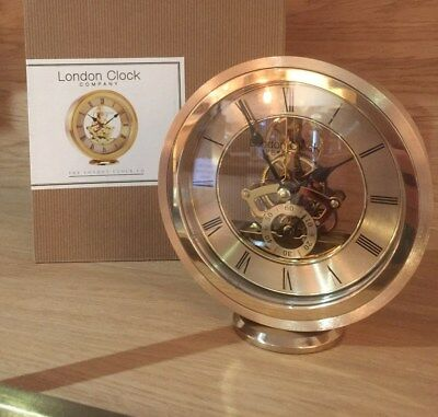 London clock Gold Metal Finish Skeleton Carriage Mantle Clock **