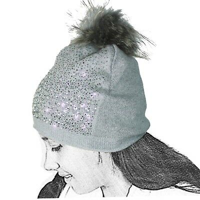 Cap Of Knit Woman Wool Strass Grey Pompon Lenses Glitters Bright Ball L