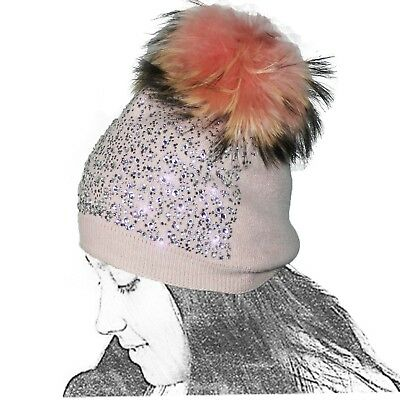 Cap Of Knit Woman Wool Strass Rosa Pompon Glitters Lenses Bright Ball L