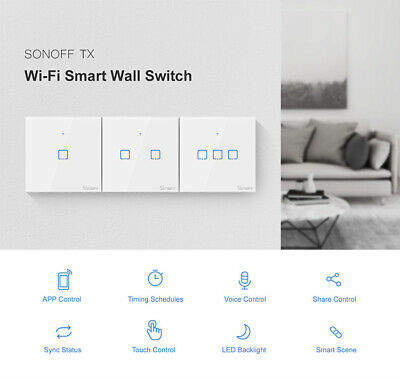 Sonoff T1 UK 1-3 Gang WiFi & RF 86 Type Smart Wall Touch Light Switch Alexa A7T