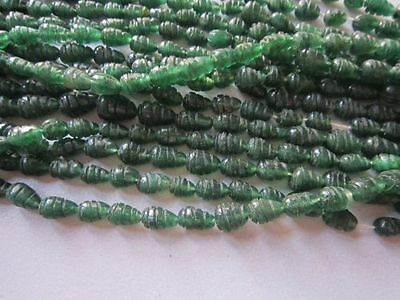(eH7443)  GREEN AVENTURIAN 1 strand 7 inch Hand Carved beads  Old stoc