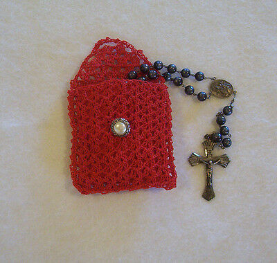 Hand Crochet Red Cotton Rosary Jewelry Pouch