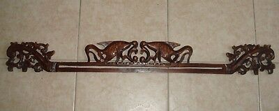 """Vintage Wood Carving - Chinese Style Fish & Floral 38"""" long Mahogany/Rosewood"""