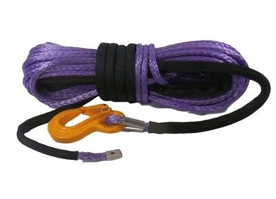 100ft 10mm Synthetic Winch Rope,  & Hook, Dyneema SK75 self recovery 4x4.