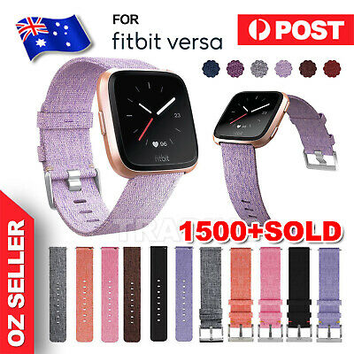 Sport Woven Fabric Wrist Band Strap Classic Stainless Buckle For Fitbit Versa AU