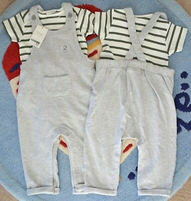 BNWT Next Baby Boys Outfit Grey / Green Dungarees and Bodysuit Set 9-12 Months