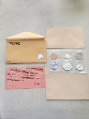 1964 U. S. US United States Mint Proof Coin Set 90% Silver In Original Envelope