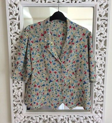 Vintage Beige Ditsy Floral Blouse Top, UK Size 16-18 Immaculate