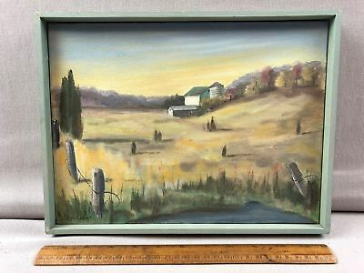 Original Oil Canvas Painting Jean Wright New Jersey Farm Barns Framed 9x12