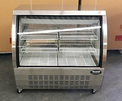 """DELI CASE NEW 48"""" STAINLESS GLASS SHOW CASE REFRIGERATOR COOLER DISPLAY Bakery"""