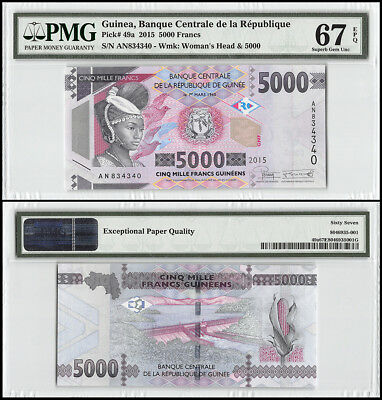 Guinea 5,000 (5000) Francs, 2015, P-49A, Woman's Head & 5000, PMG 67