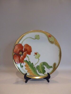 ANTIQUE LIMOGES Coronet Hand Painted Signed Cabinet 9\