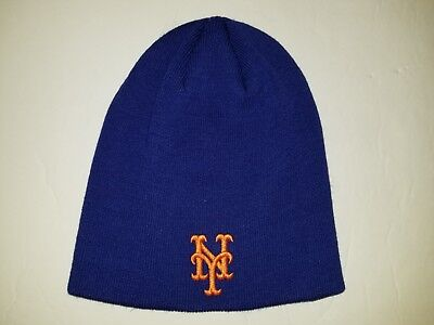 Blue MLB New York Mets Embroidered Knit Cuff-less Beanie Skull Cap 511bb6fbb3f6
