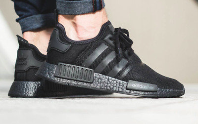 Adidas Nmd R1 Triple Black Mesh Core Sz 14 All Blackout Boost