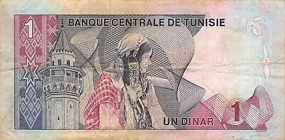 Tunisia  1  Dinar  3.8.1972   P 67a  Series  B/2  Circulated Banknote AF418M