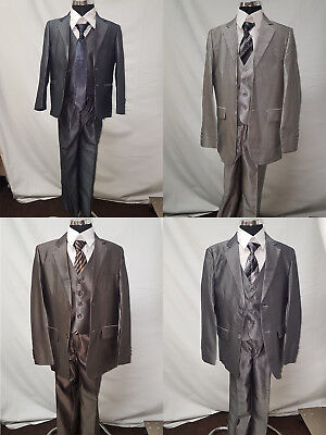 Boys Shiny 5 Piece Wedding Suit Page Boy Formal Party