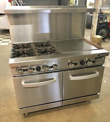 """NEW 4 Burner range 24"""" Griddle Flat Grill 48"""" Commercial Stove Gas Double Oven"""