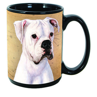 Boxer White Uncropped Faithful Friends Dog Breed 15oz Coffee Mug Cup
