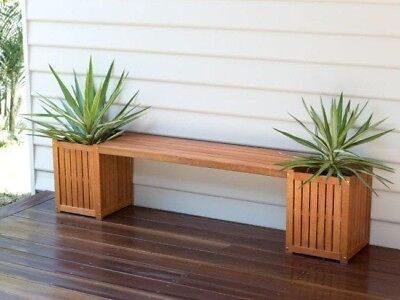 New! Outdoor Bench Seat with Planter Boxes Acacia Wood Outdoor Entertainment!