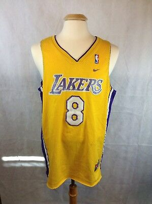 10be62bbdcd RARE Vintage Nike Los Angeles Lakers Kobe Bryant 8 Swingman Jersey Gold Men  L