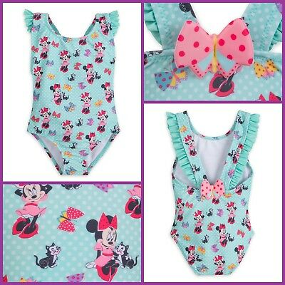 100% Disney Store Minnie Mouse & Figaro Swimsuit For Girl Size( 5-6)