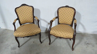 Pair French Carved Side Club Chairs  Walnut