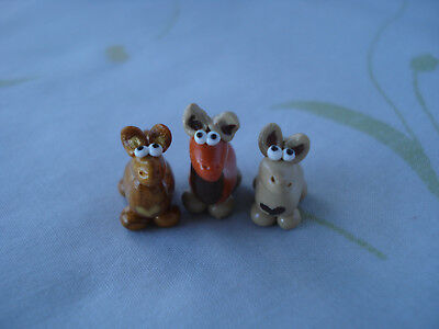 Miniature Handmade Polymer Clay Llama Figurines 3pcs