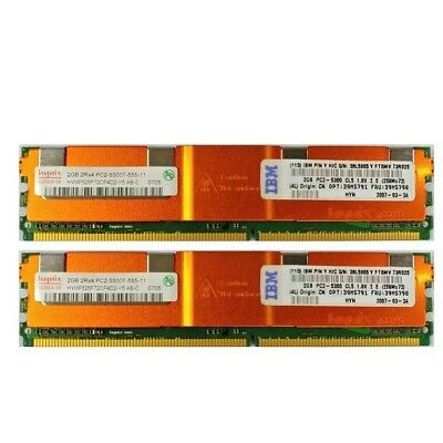 2x Hynix IBM 2GB DDR2 667MHz PC2-5300F ECC DIMM RAM HYMP525F72CP4D2 (Total: 4GB)