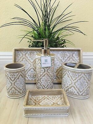 Cynthia Rowley 5pc Bathroom Accessory Set White Washed
