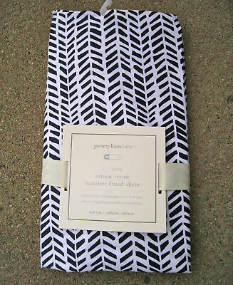 Pottery Barn Baby Black White Arrow Organic Cotton Sateen Bassinet Fitted Sheet