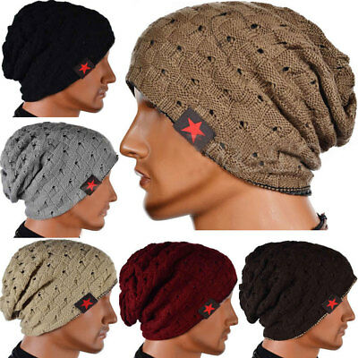 Mens Womens Slouch Skull Cap Oversize Wool Warm Beanie Baggy Cap Knitted Hat New