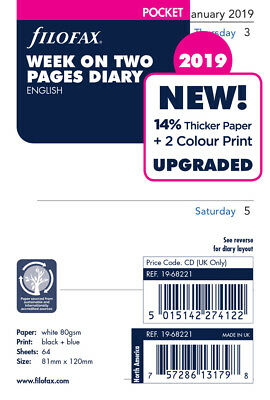 Filofax Refill Pocket  Week on Two Pages  English 2019 C6822119