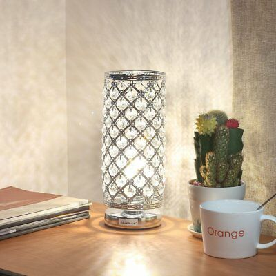 Decorative Crystal Table Lamp Desk Bedside Nightstand Reading Nightlight Silver