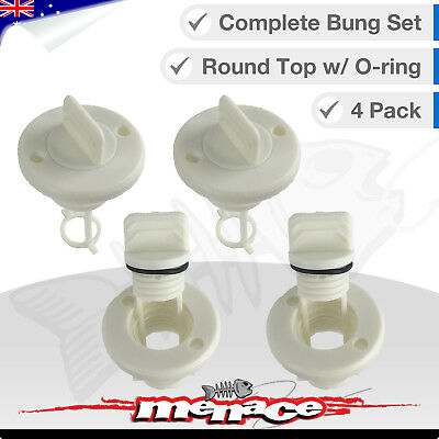 4 x Complete Replacement Bungs Marine Boat Drain Bung Plugs Thread Round White