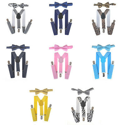 Pure Adjustable Suspender and Bow Tie Set for Baby Toddler Boys Girls SRAU