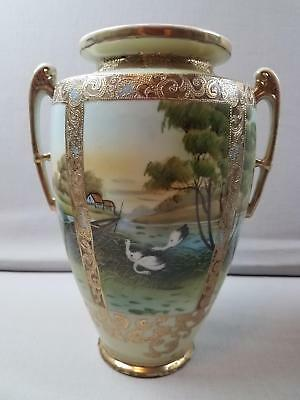 "Antique Double Handle Hand Painted Nippon 10.5"" Vase Cranes Boat River Trees"