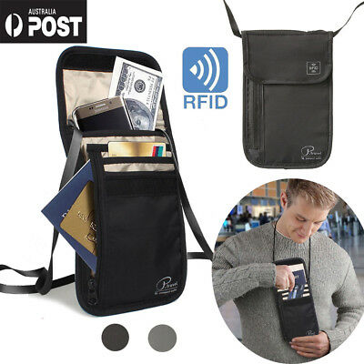 Mini RFID-Blocking Travel Neck Stash Anti-Theft Hidden Security Wallet Pouch