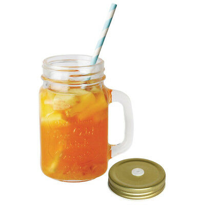 12x Drinking Jar Design Glasses and Lid 450ml Olympia Commercial Bar Restaurant
