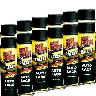 12 x 500 ml Lackspray schwarz matt  Spraydose Fast Finish Lack Autolack 292828