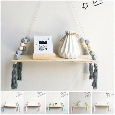 2018 New Wooden Wall Shelf Hanging Swing Shelves Crafts Door DIY Rack Holder