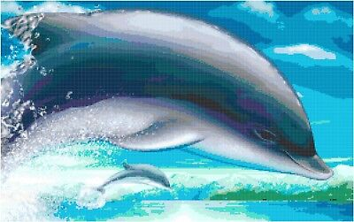 Cross Stitch Chart Pattern Action Cute Dolphins