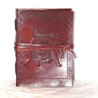 """Elephant Handmade Blank Book Of Shadows Bound Leather Journal 7""""x5"""" Wicca Pagan"""