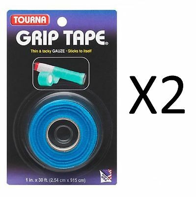 Unique Tourna Tennis Racquet Grip Gauze Tape-Blue-1in by 30 Ft-Badminton (2Pack)